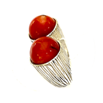Ring with two fossil coral spheres - Agau Gioielli