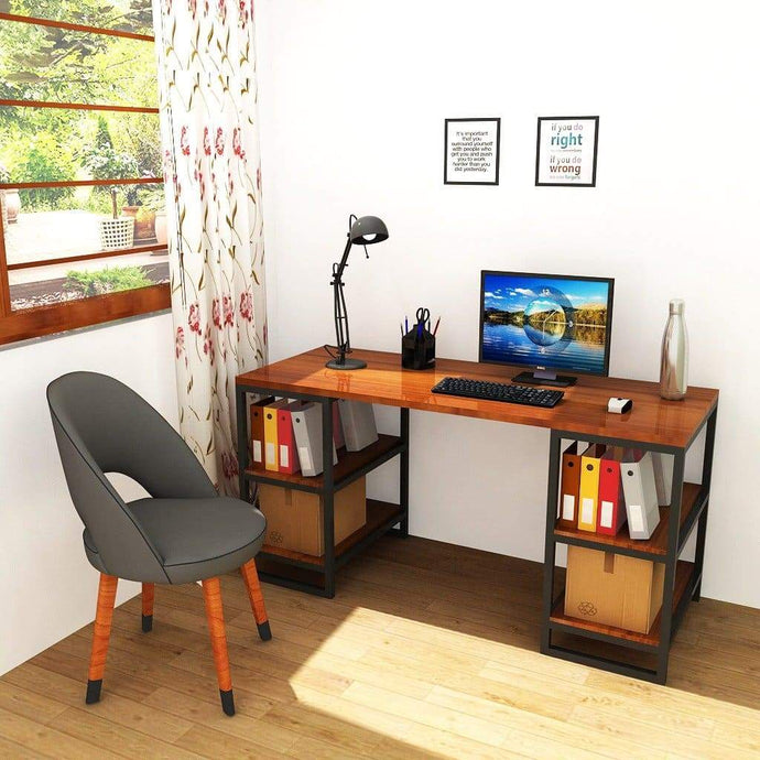 Large Modern Desk with Storage Shelves