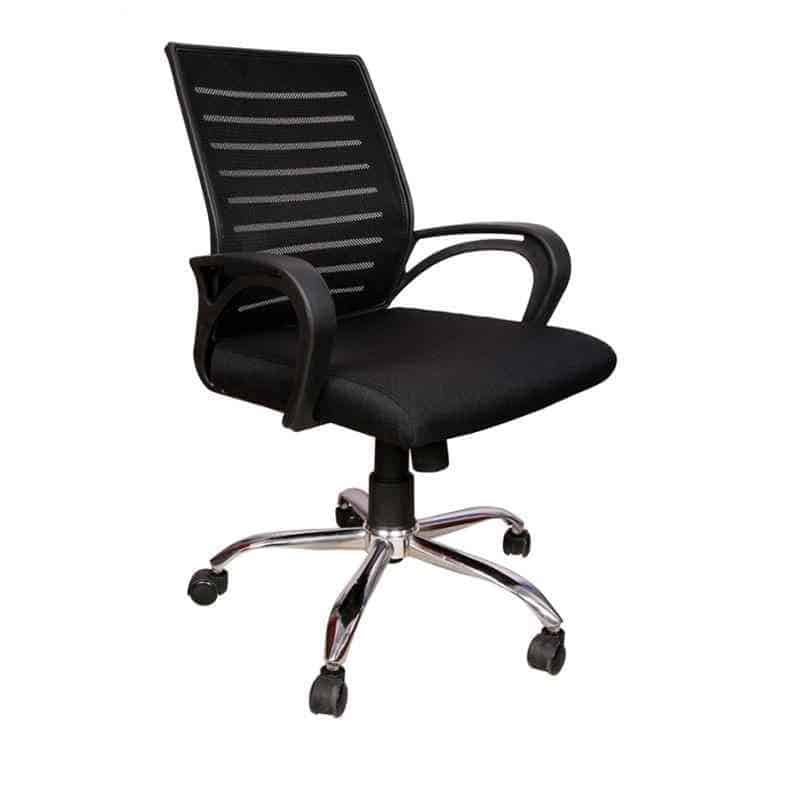Mid Back Mesh Revolving Chair with Wheels (Black)