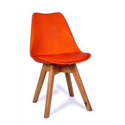 Modern Furniture Plastic Chairs with Cushion for Cafeteria Seating/Dining Chair/Side Chair/Kitchen/Restaurants/Hotels (Orange Color) Plastic Dining Chair  (Set of 1, Finish Color - Orange)