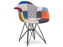 Load image into Gallery viewer, Modern Multicoloured mosaic of armchair upholstered in fabric with metal gambler