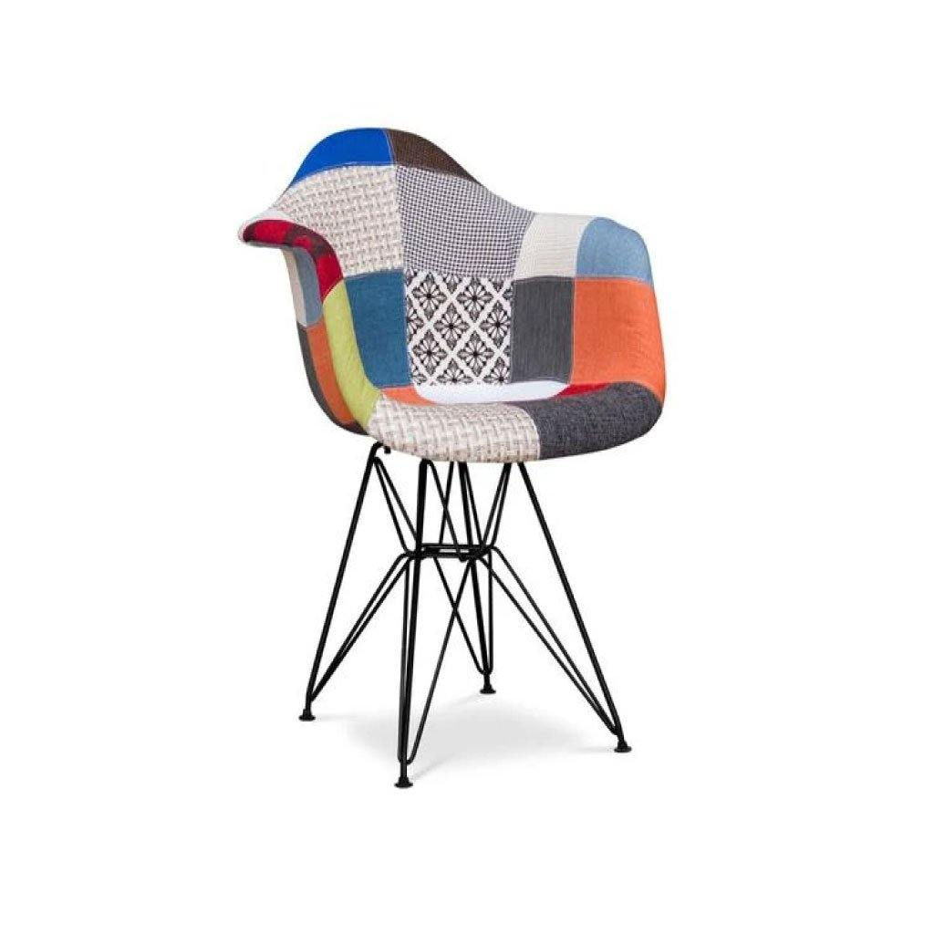 Modern Multicoloured mosaic of armchair upholstered in fabric with metal gambler