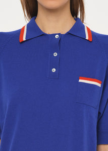 SHORT SLEEVE BLUE POLO SWEATER