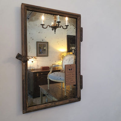 Iron Mirror w Aged Plate