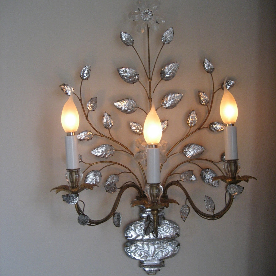 Crystal Glass & Gilt Wall Sconce-Flower