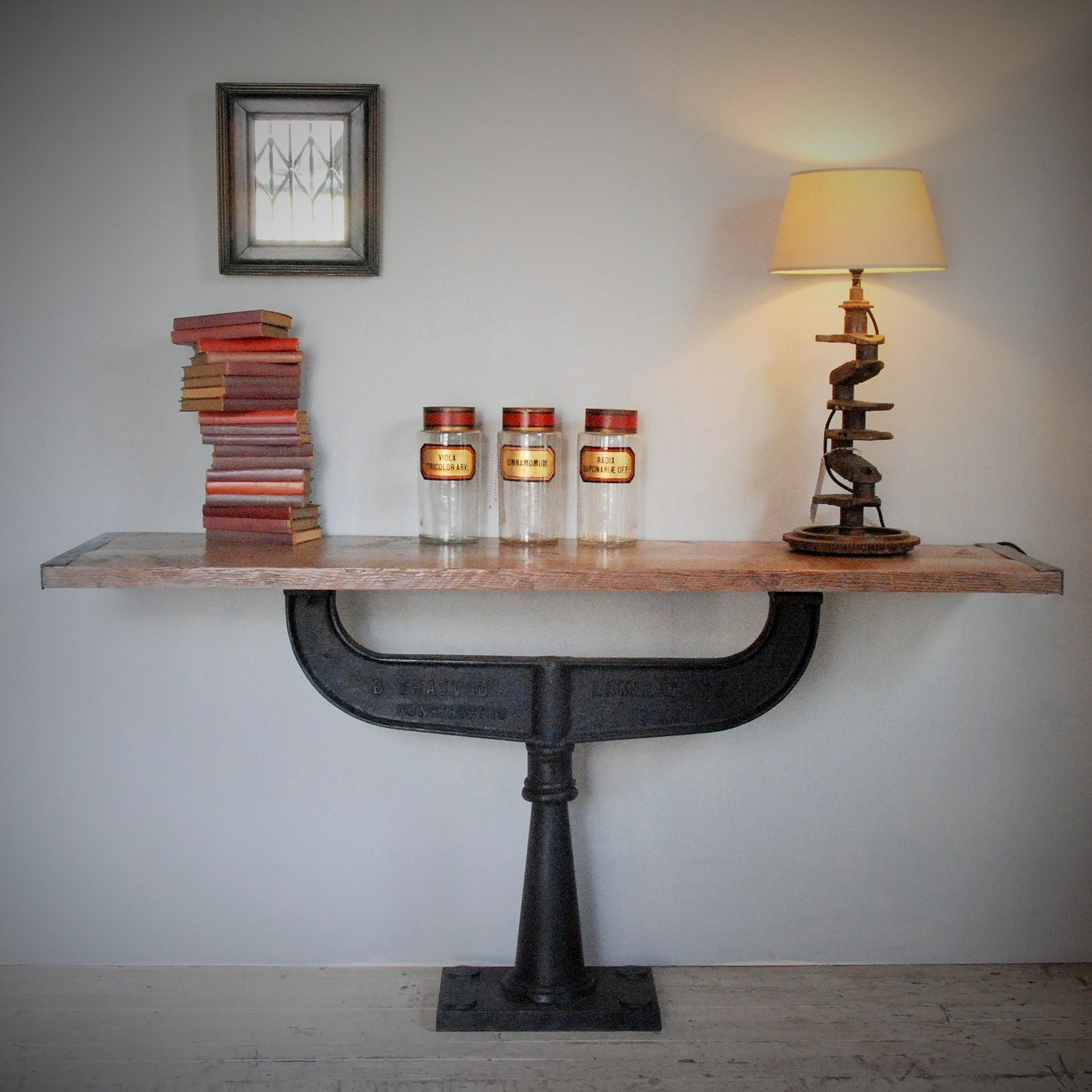 Antique Timber Top Console