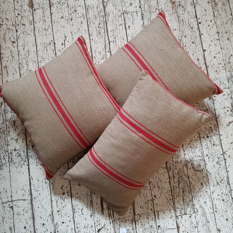 Natural - French Red Stripe Cushion