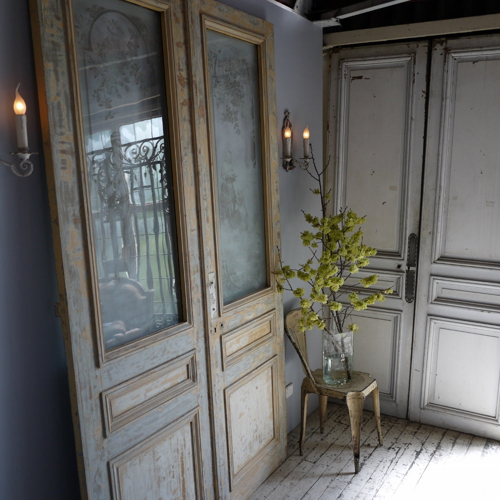 19thC Etched Salon Doors
