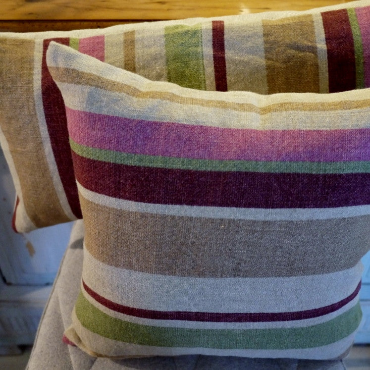 Pink Multi Stripe Cushion