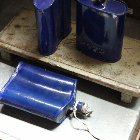 Vintage Blue Enamel Flasks