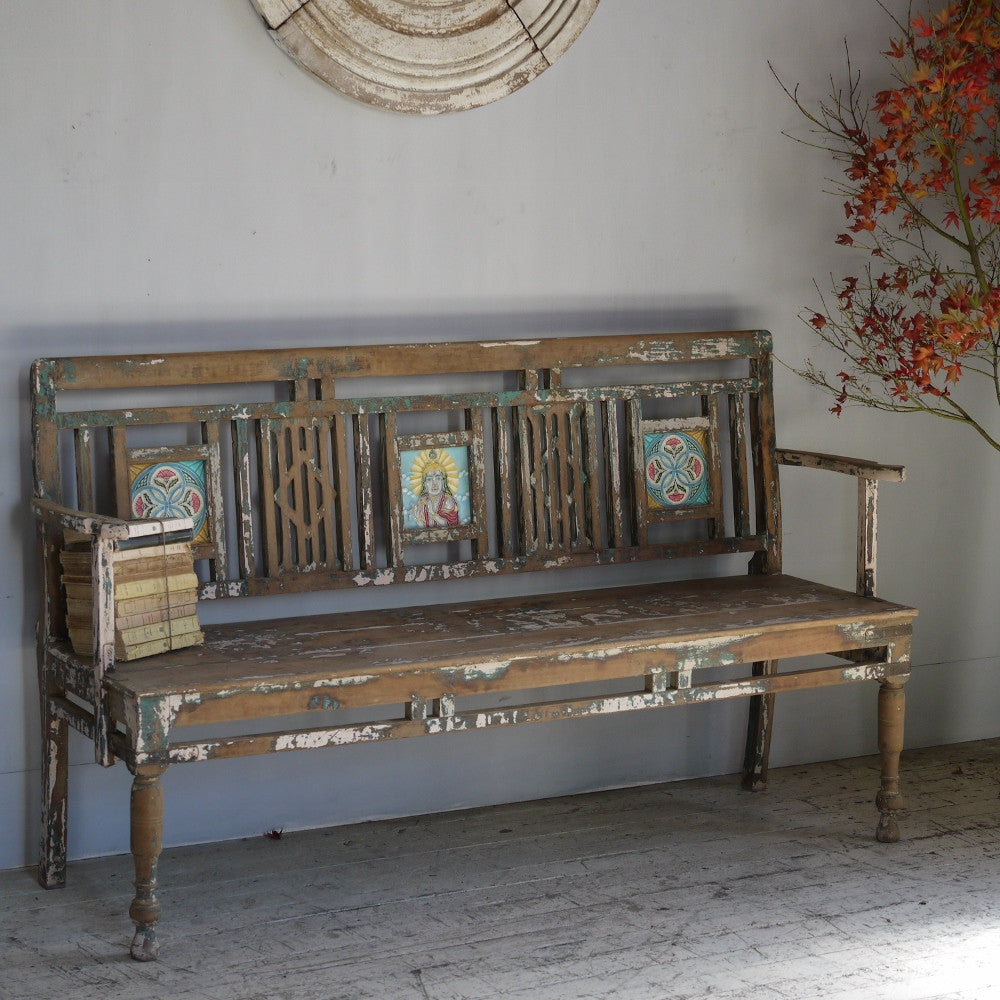 Tiled Indian Bench