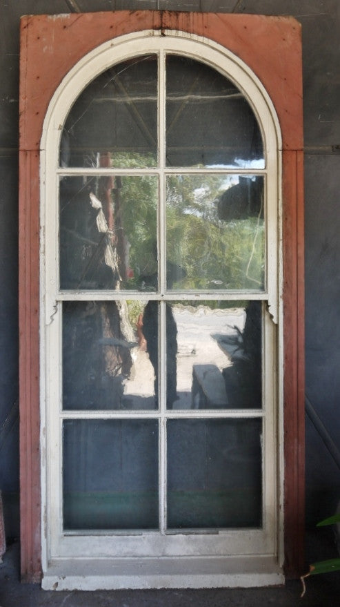 Pair 19thC Arched Sash Windows