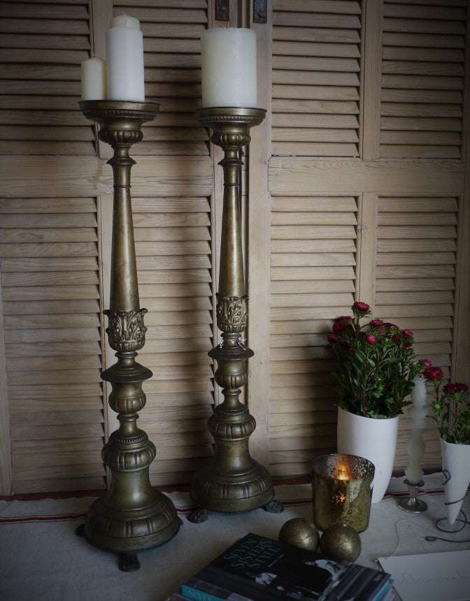 Antique Brass Torcheres