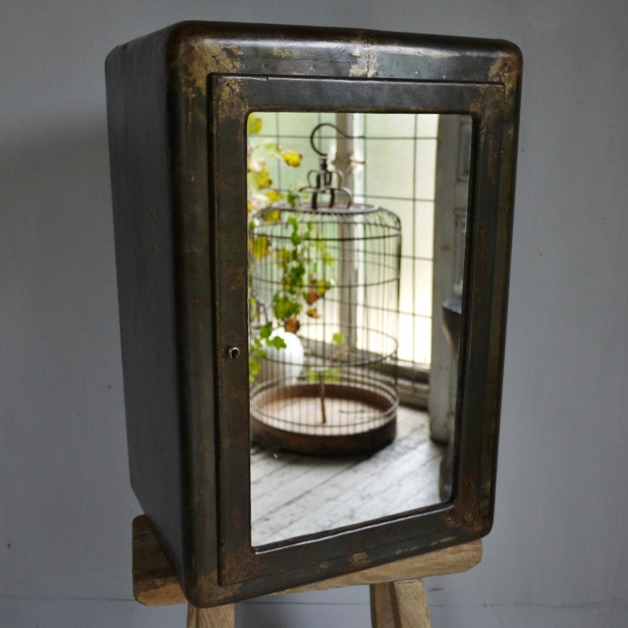 Petite Iron Mirrored Cabinet