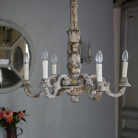 French Vintage Carved Chandelier