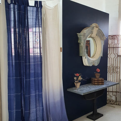 Indigo Pin Stripe Curtains