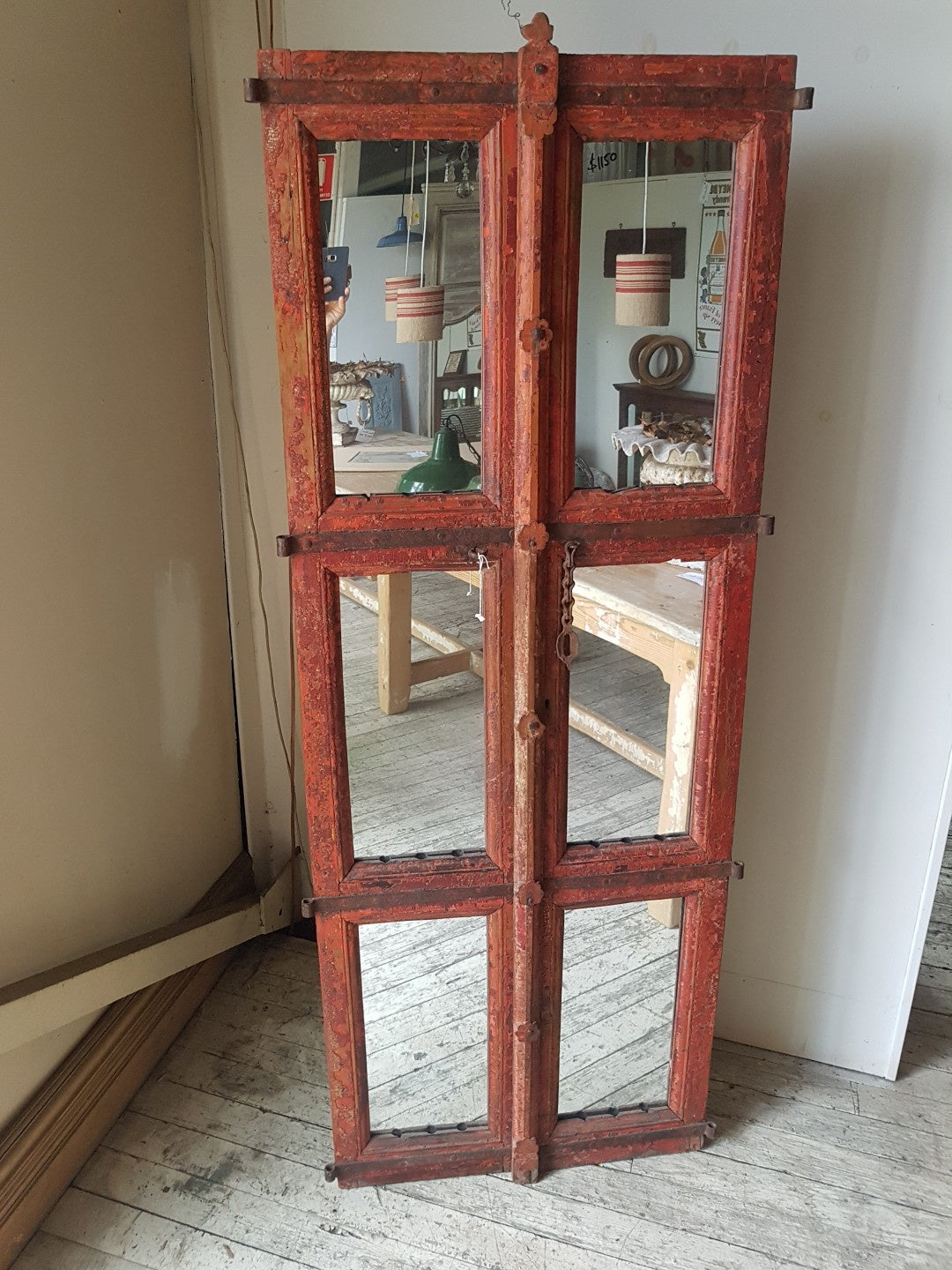 Red Painted Mirror/Shutter