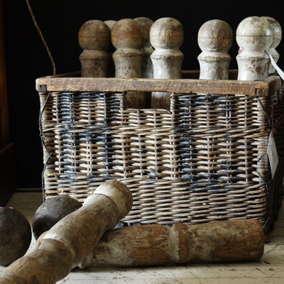 Wine basket, vintage, rustic, antique toys, decorative objects, elements i love, byron bay, prop hire