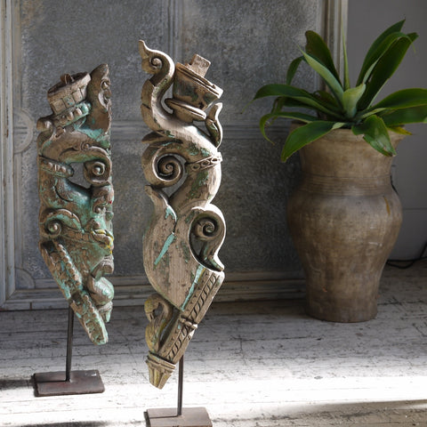 Carved Finials on Stand