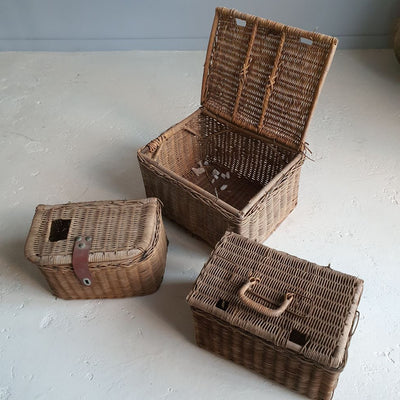 fishing baskets, Basket red, vintage, rustic, antique toys, decorative objects, elements i love, byron bay, prop hire