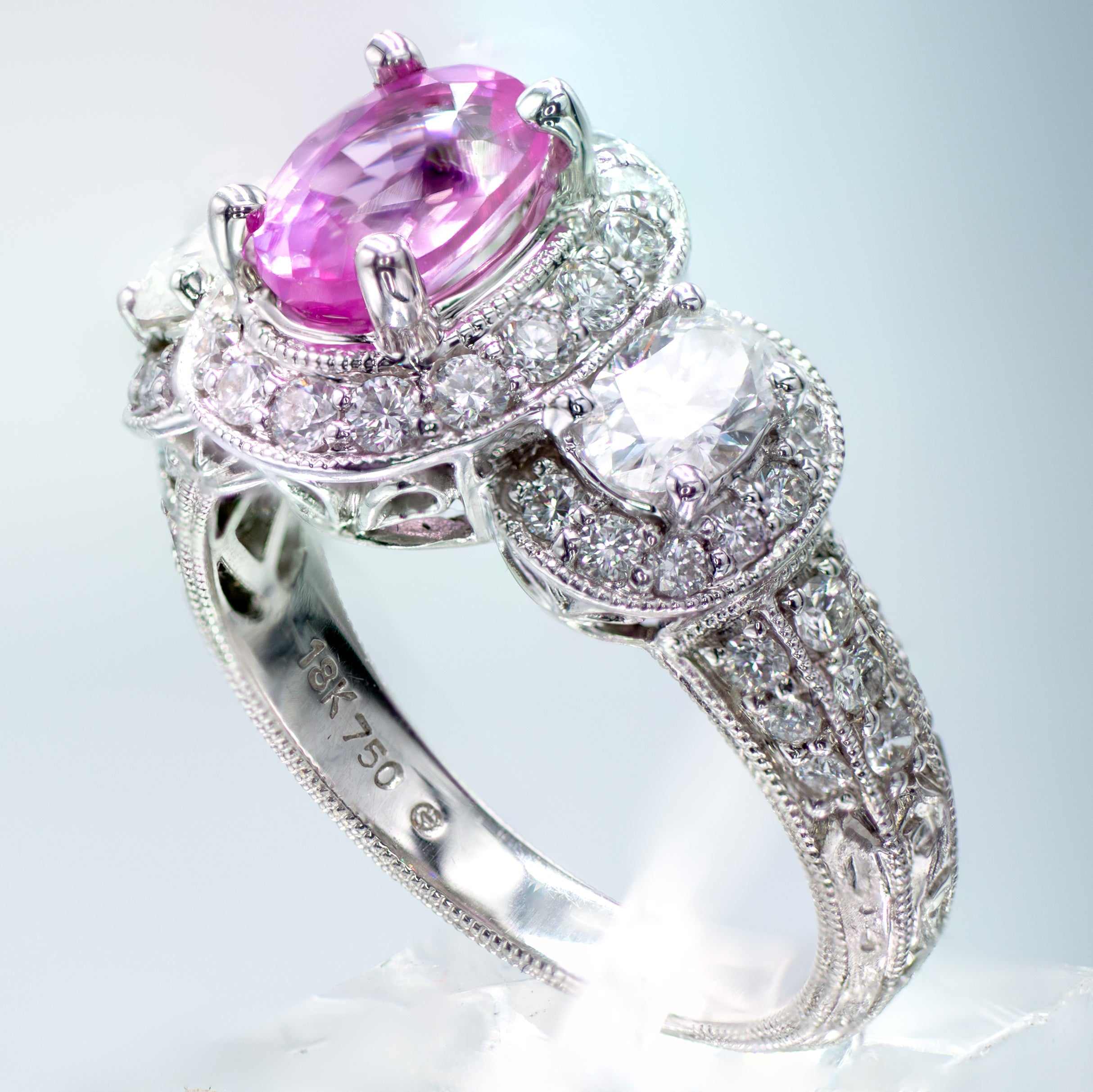 Edwardian Style Pink Sapphire & Diamond Engagement Ring in 18K White Gold