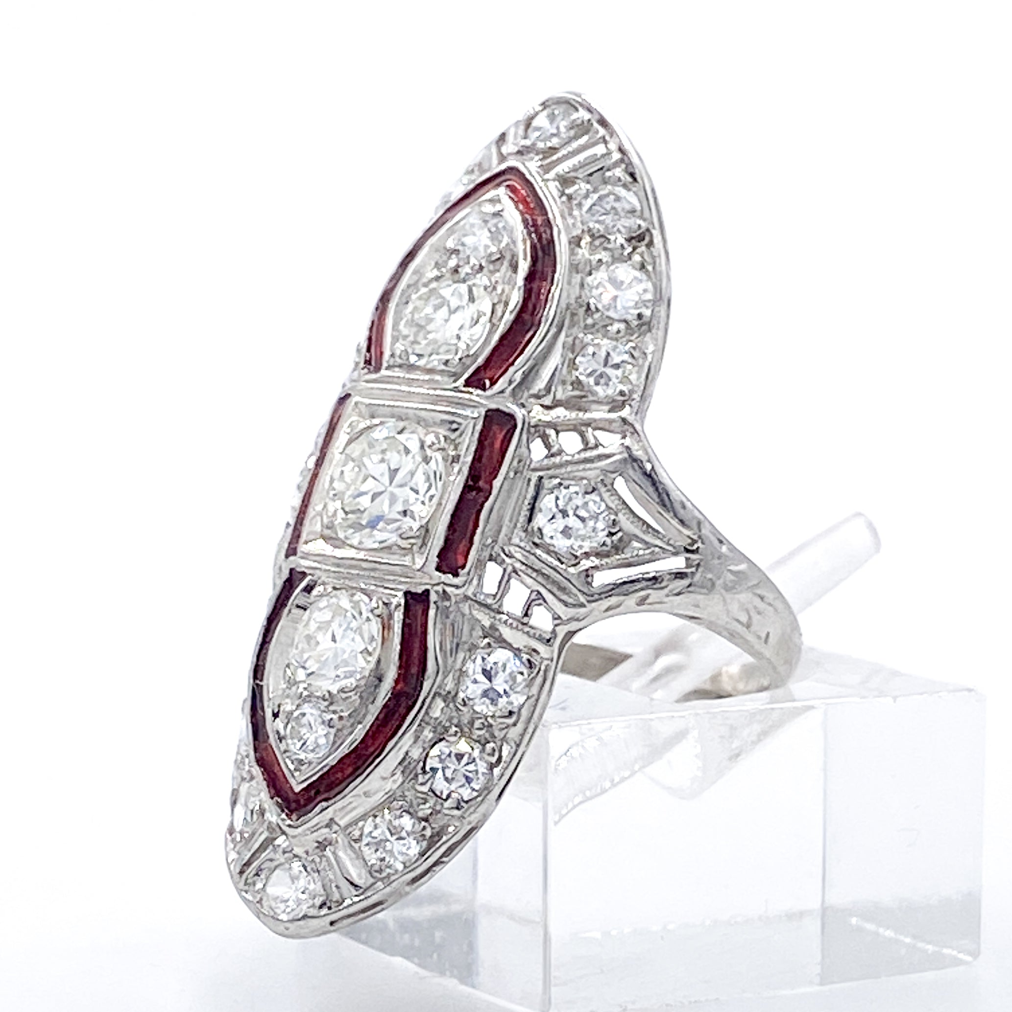 Gorgeous Art Deco Vertical North South 1.5 Carat Diamond Ring with Ruby Red Enamel in Platinum