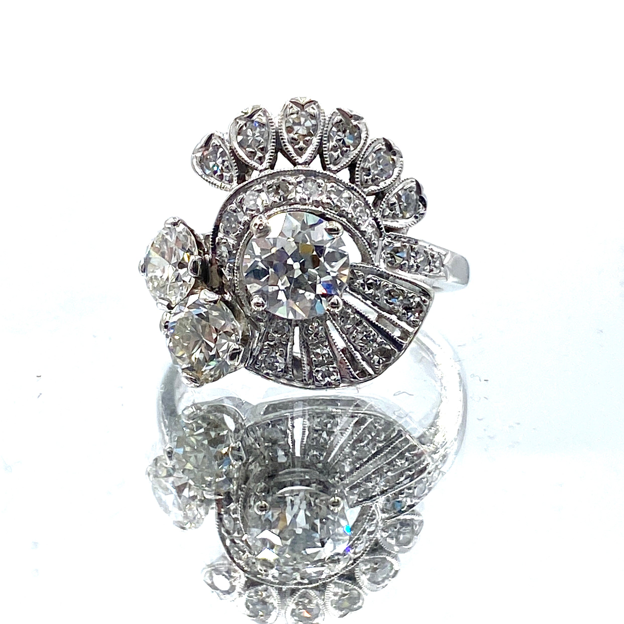 Vintage 1950s 3 Carat Diamond Dinner Ring 14K White Gold