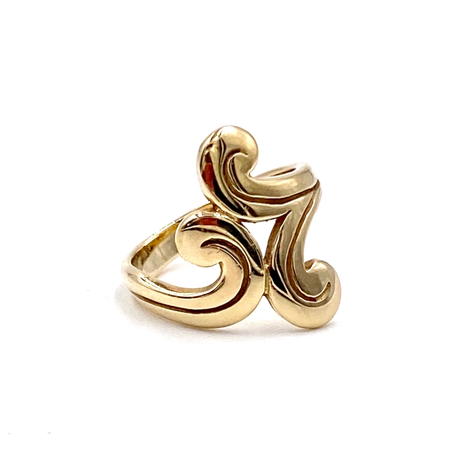 James Avery Retired  Swirl Ring Hallmarked Dynamic Movement 14K Yellow Gold