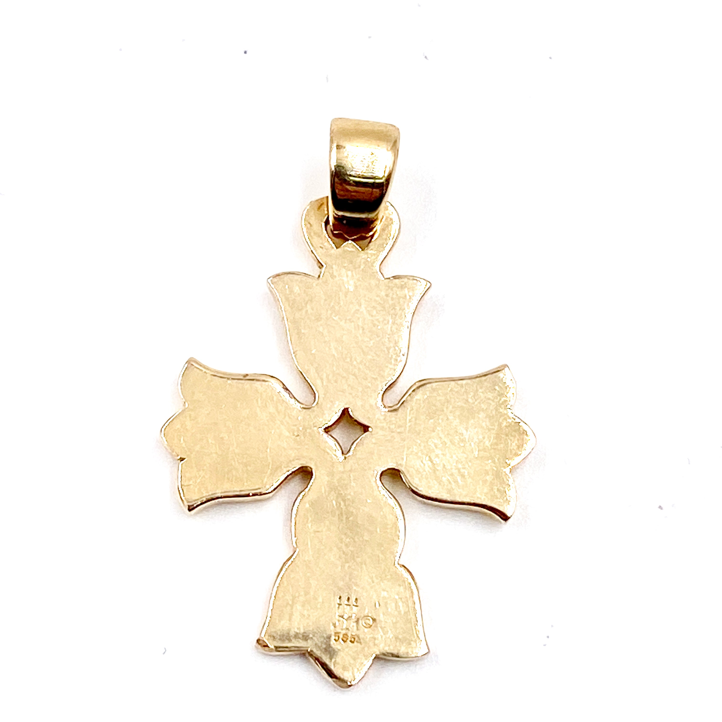 James Avery Retired Tulip Cross Floral Pendant Hallmarked 14k Yellow Gold