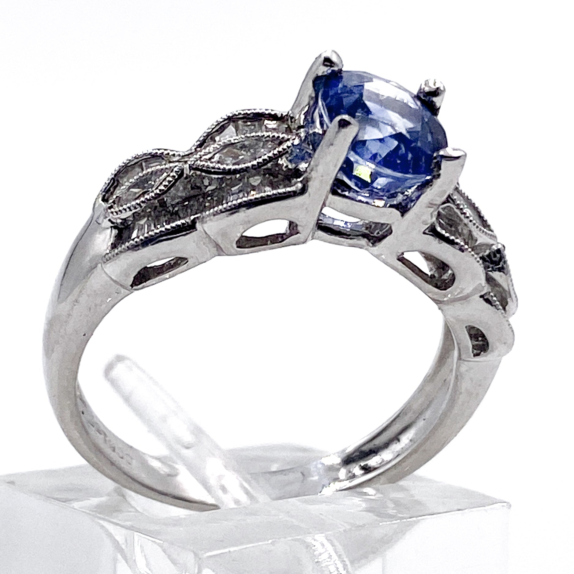 2 Carat Sapphire and Diamond Dinner Ring in Platinum