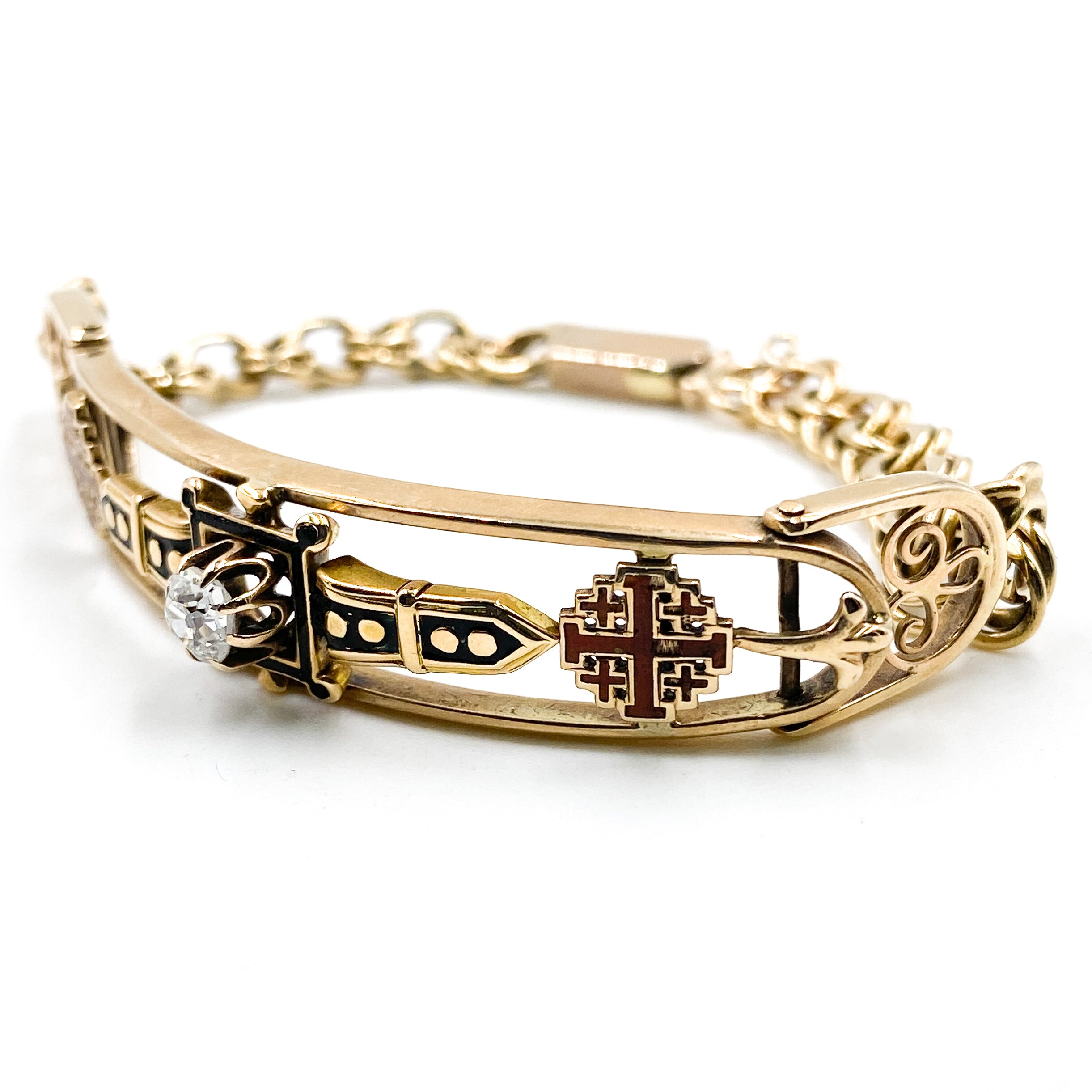19th Century Knights Of Holy Sepulchre Jerusalem Cross Old Mine Cut Diamond Gold Bracelet