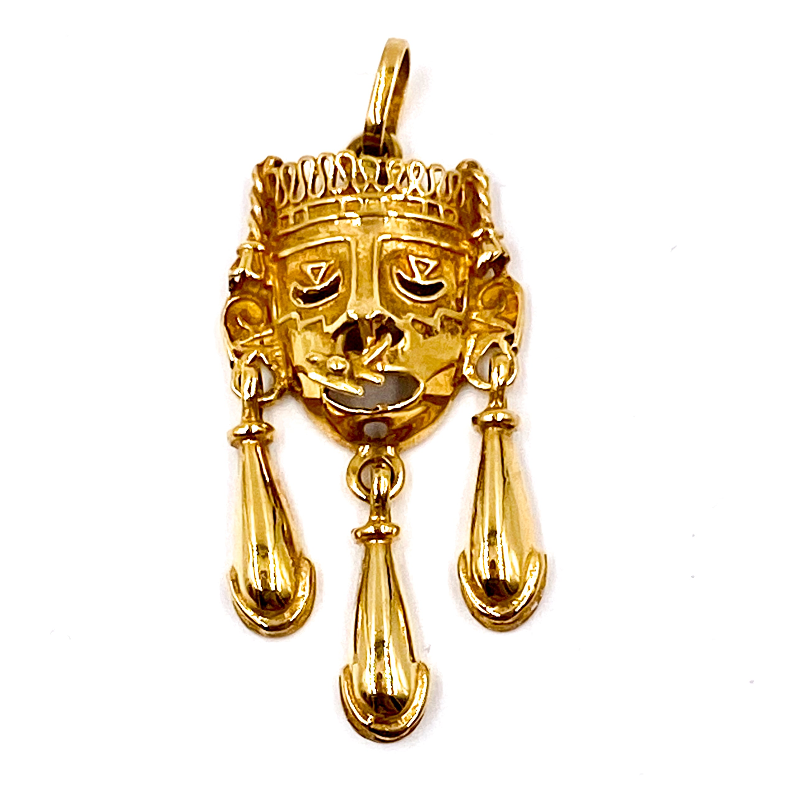 Vintage Incan Mayan Aztec Mask Warrior With Nose Ring Pendant 14KT Gold