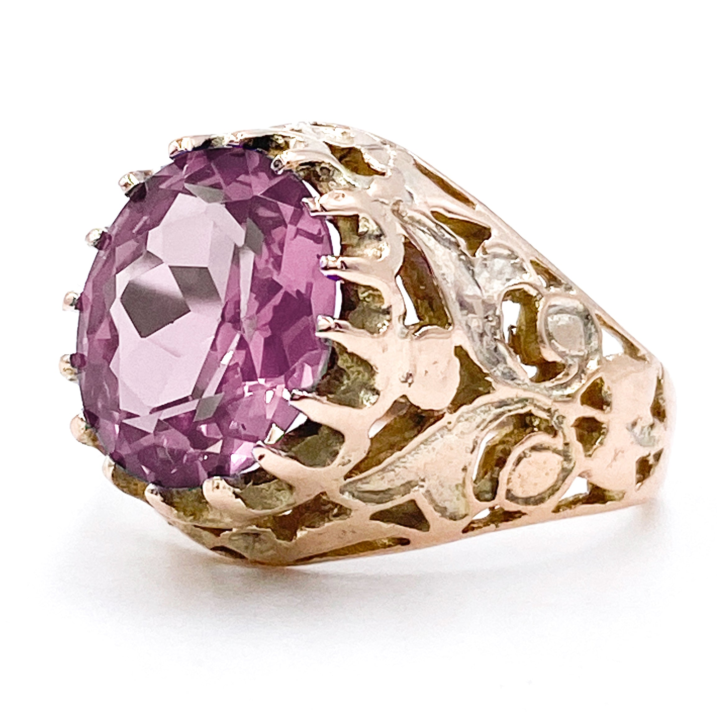 2.5 Carat Synthetic Alexandrite Authentic Art Deco (ca. 1920s) Dinner Ring with Filigree in 12K Gold