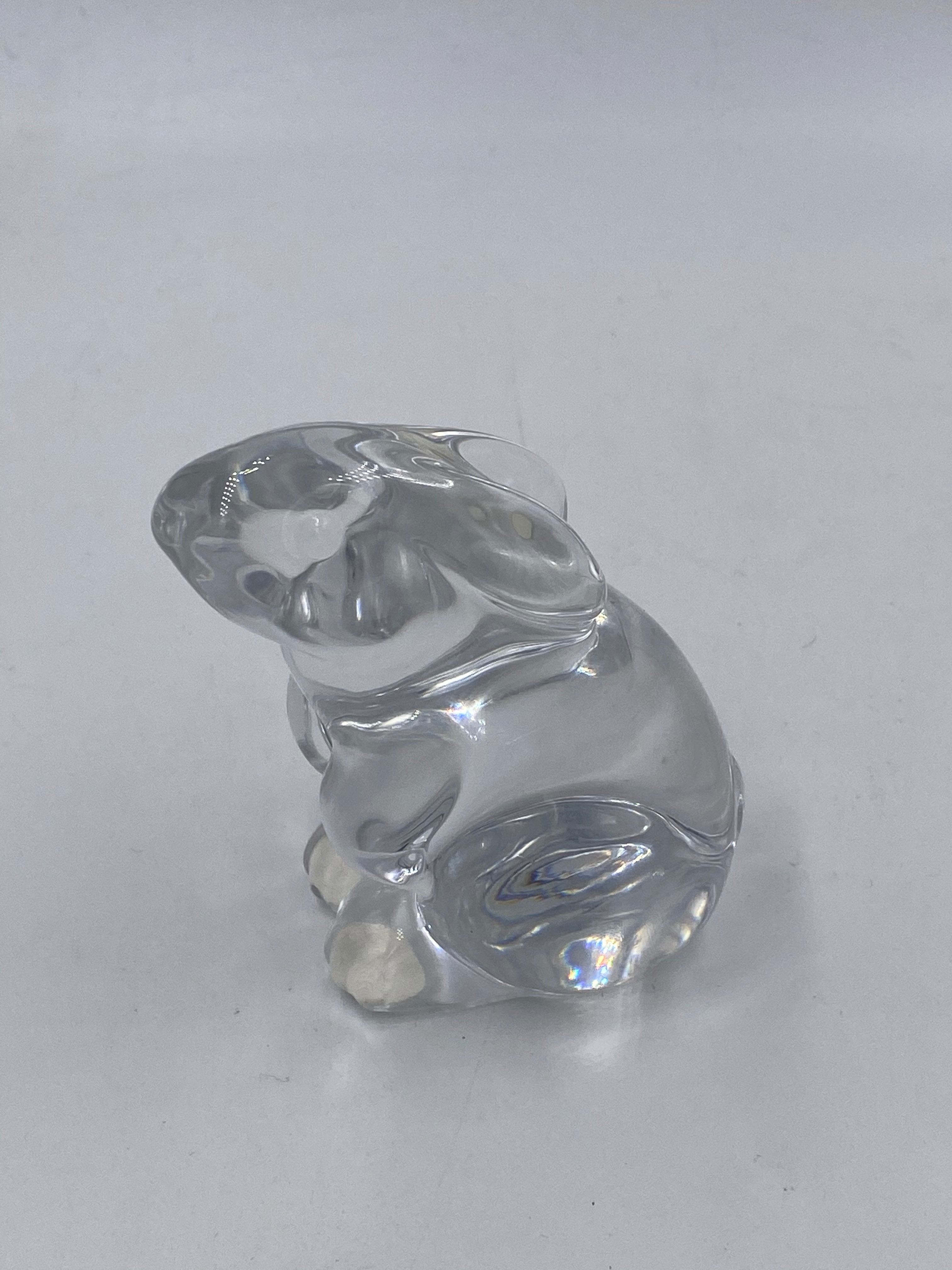 Baccarat Bunny Sitting Crystal Figurine Paperweight Signed