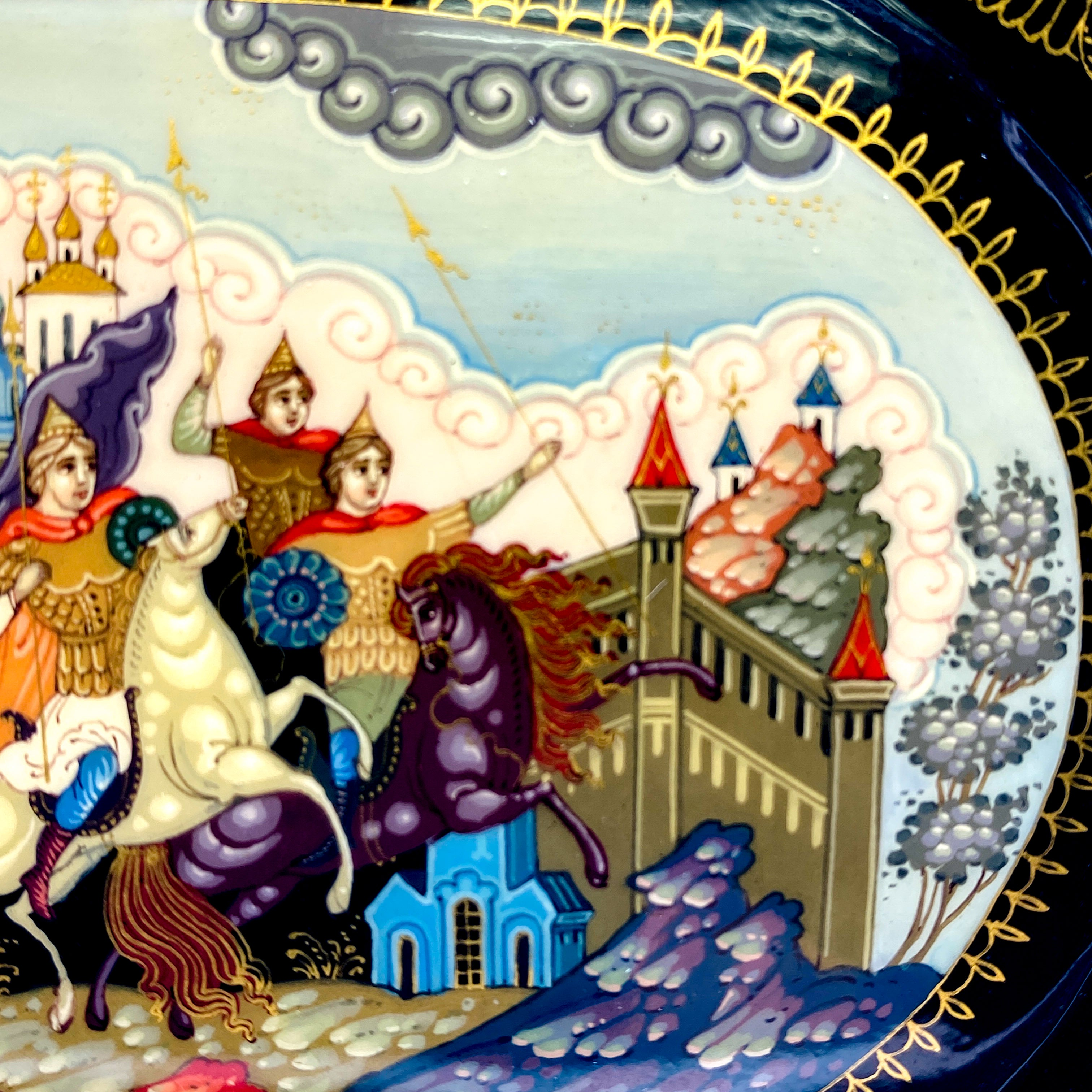 Fairy Tales, Architecture, Animals, King, Travelers, Soldiers Story Detaileld on Lacquer Box