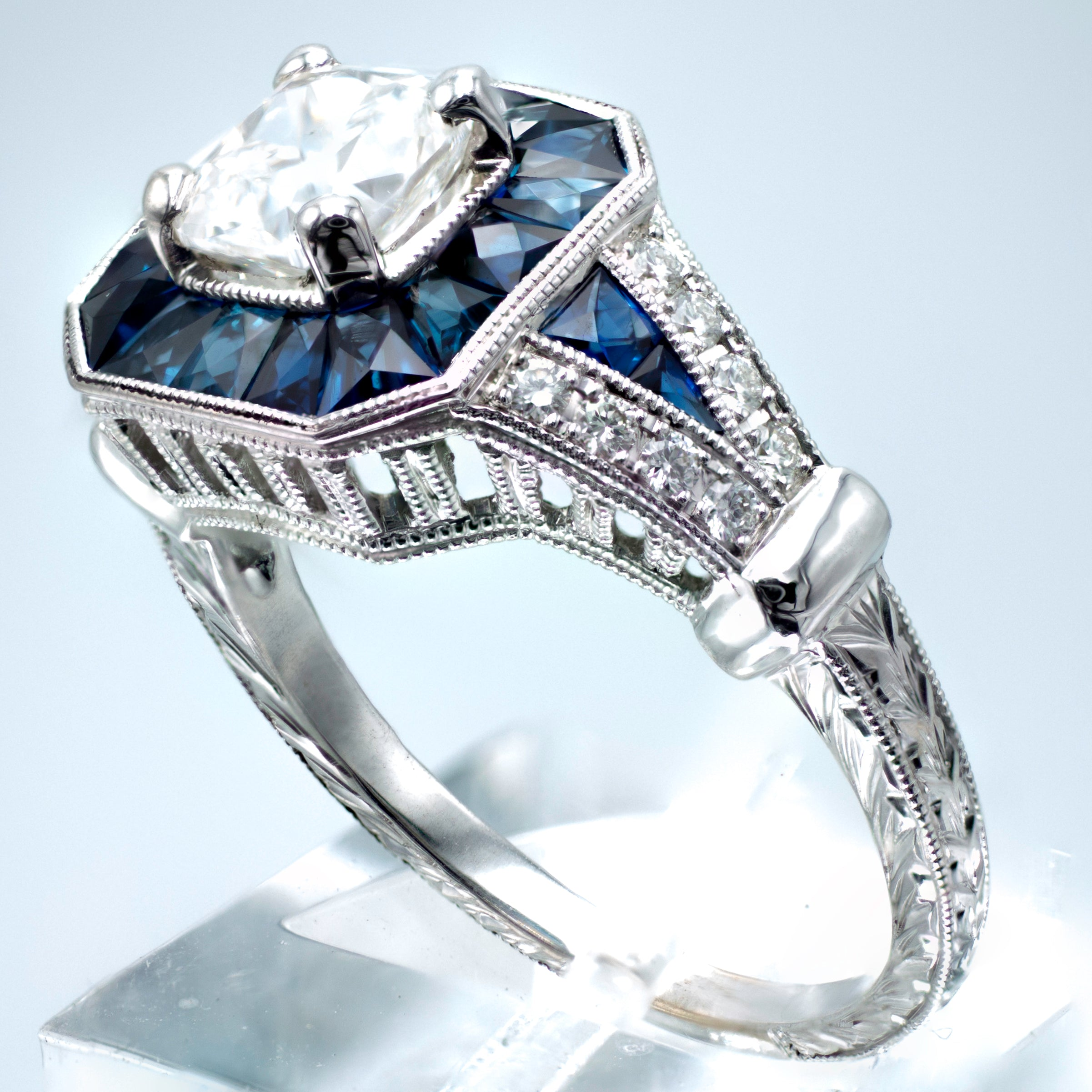 Art Deco Style .75 Carat Cushion Cut Diamond Blue Sapphire Engagement Ring 14K White Gold