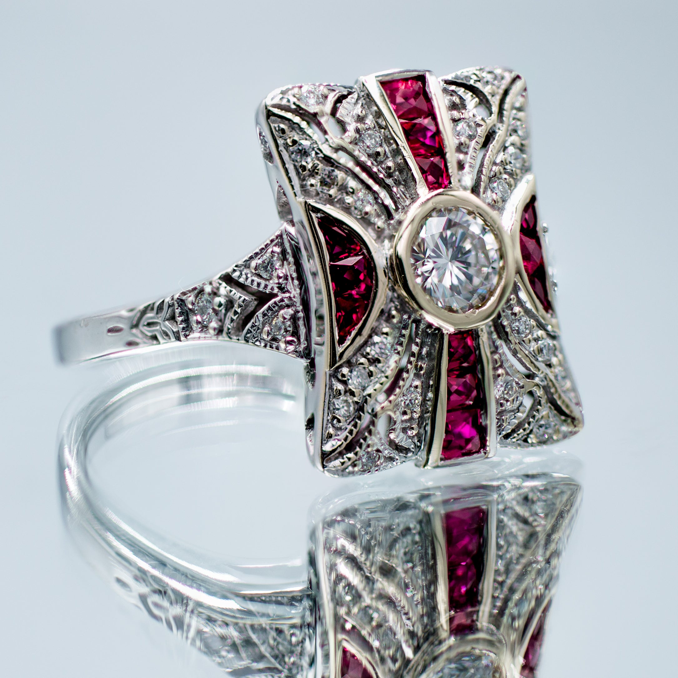 Hand Crafted Ruby & Diamond Art Deco Style in 14K White Gold
