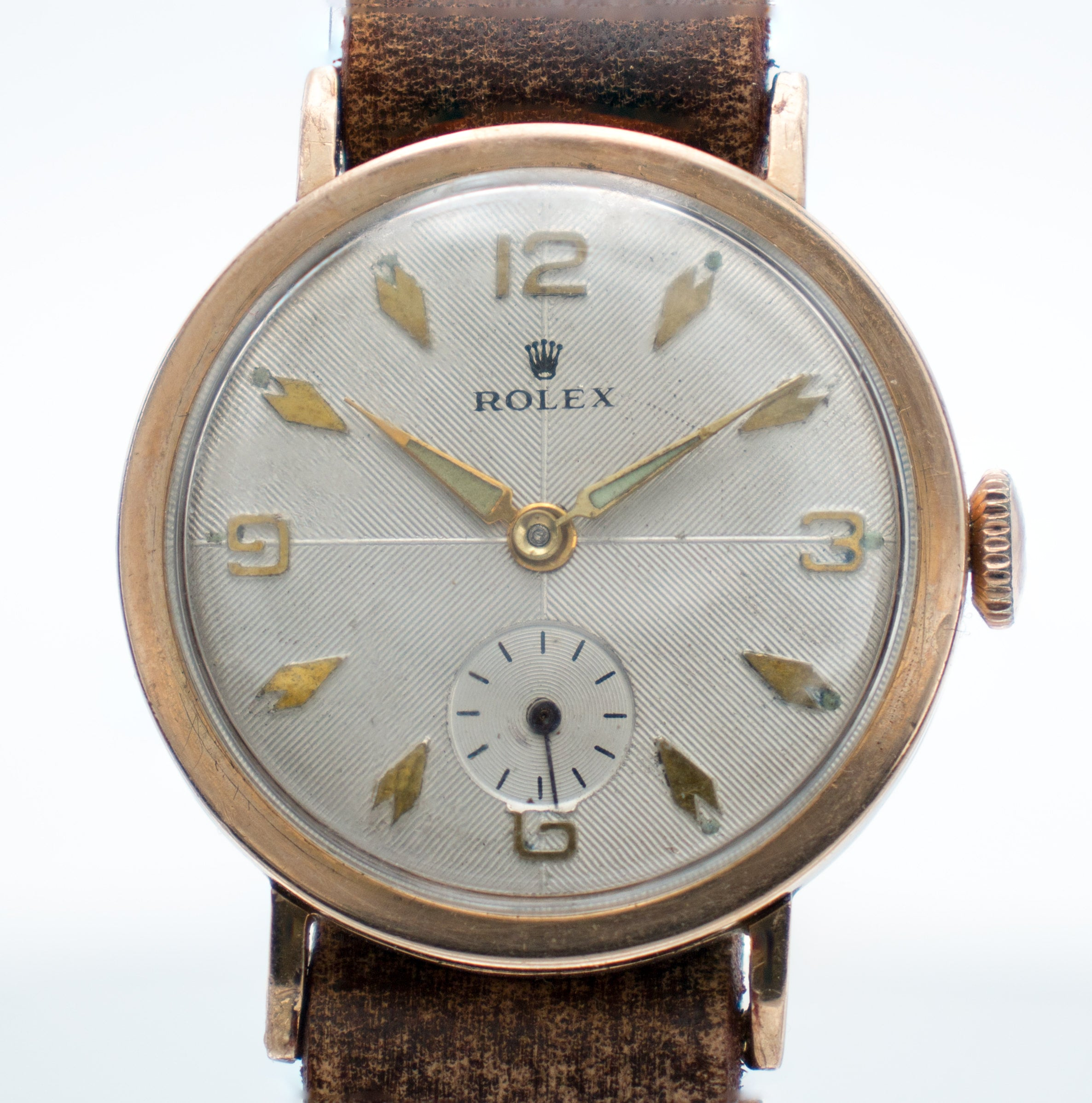Rolex Antique Military Trench Watch Guilloche Dial - Rose Gold - WWI & WWII Era