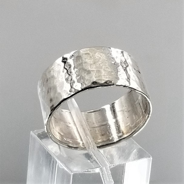Vintage Wide Hand Hammered Band in 925 Sterling Silver