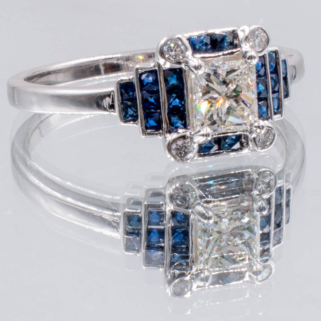 Art Deco Style .50 Carat Princess Cut Diamond Blue Sapphire Engagement Ring 14K White Gold