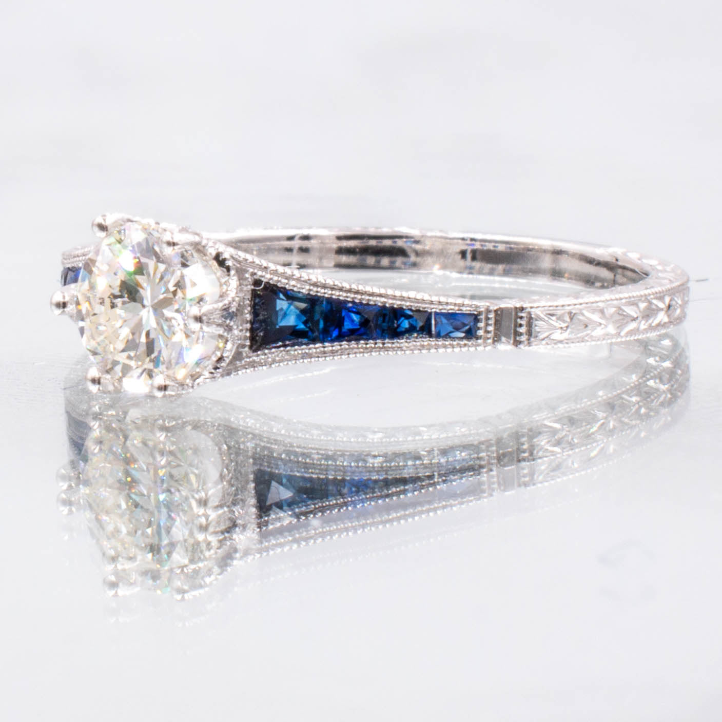 Art Deco Inspired Diamond & Sapphire Engagement Ring in 14K White Gold