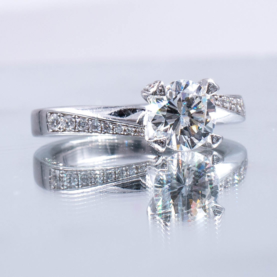 1 Carat GIA H Color VS2 Clarity Diamond Engagement Ring In Platinum Artisan Hand Crafted
