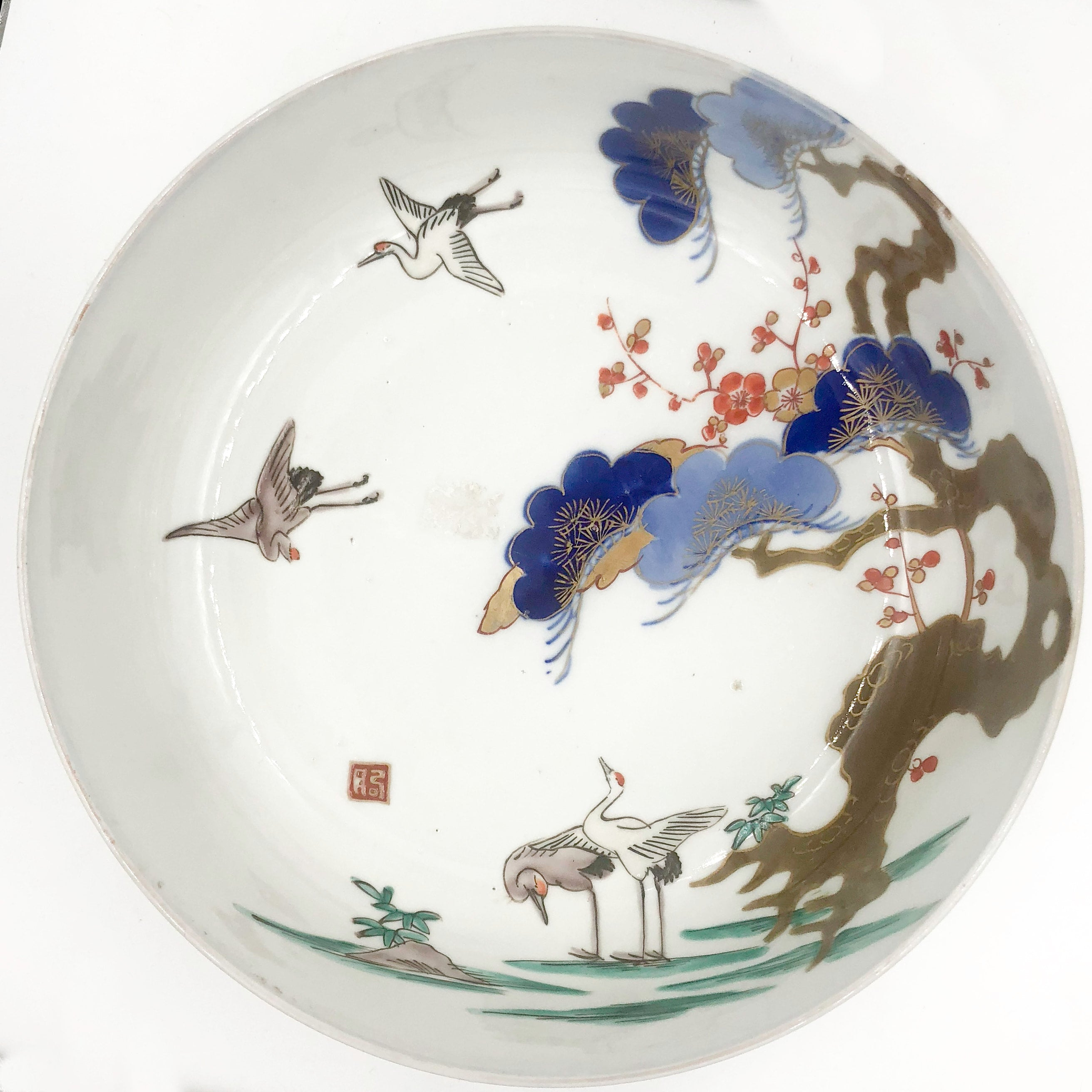 Antique Japanese Cherry Blossom Great Blue Herons Edo Period Bowl
