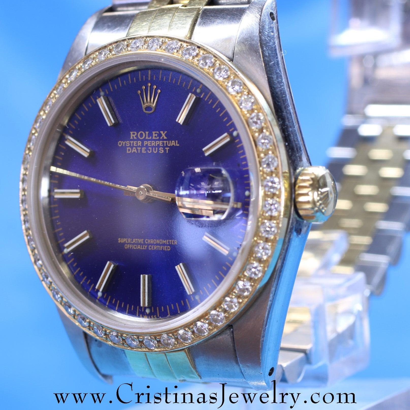 Vintage Mens Rolex Datejust Blue Face Watch with 1 Carat Diamond Bezel and Jubilee Band in Stainless & 18 Karat Yellow Gold