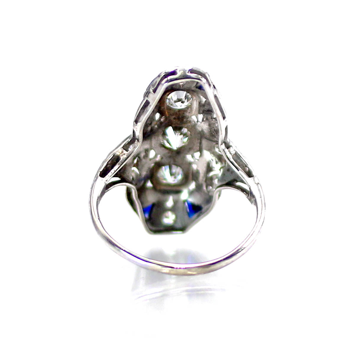 Art Deco Diamond & Sapphire Filigree Ring 14K White Gold