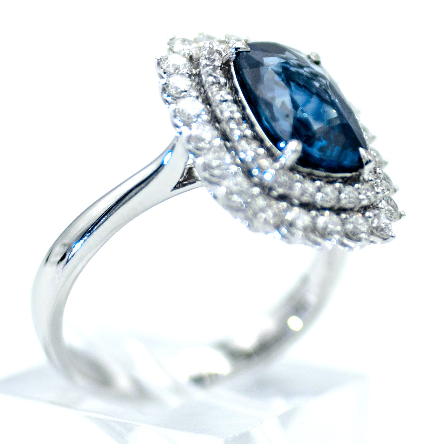 Natural 3 Carat Sapphire Double Diamond Halo Ring 18K White Gold