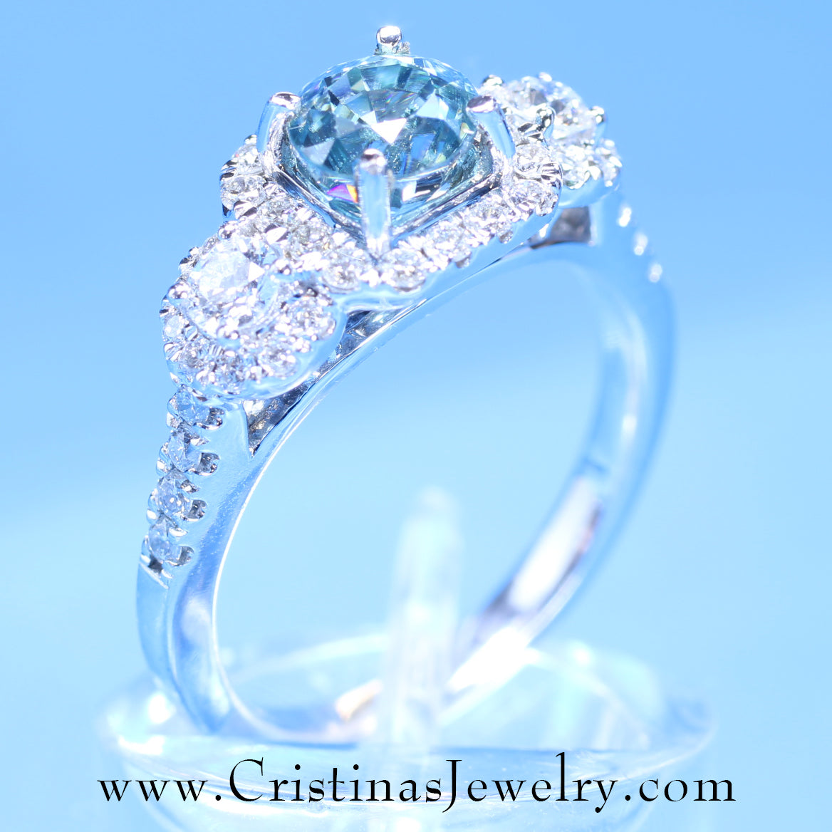 Stunning  Blue Zircon & Diamond Custom Crafted Triple Halo Antique Inspired Contemporary Engagement Ring in 14K White Gold