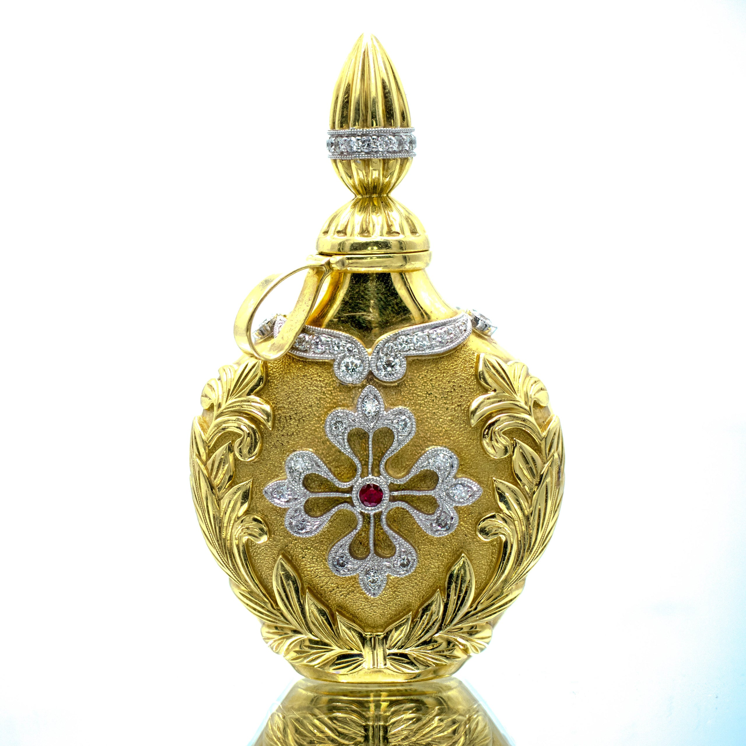 Opulent Diamond & Ruby Perfume Bottle Pendant in Platinum & 18K Gold