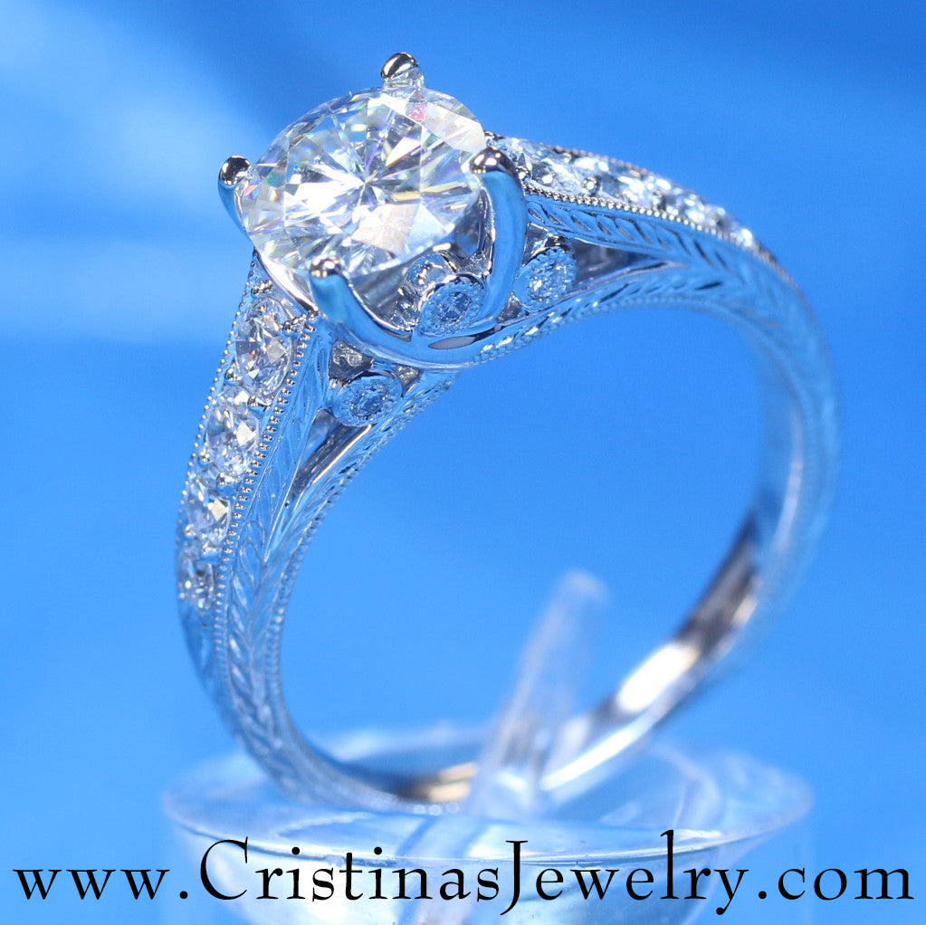 Stunning Hand Crafted Intertwining Cathedral 1.2 Carat Diamond Engagement Ring in 18 Karat White Gold