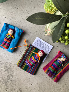 Large Worry Dolls each with a textile bag